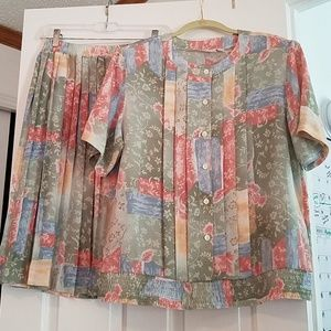 Alfred Dunner 2 piece Skirt and Blouse Set Sz12